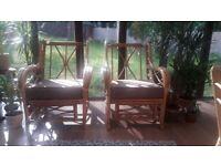 2 boho cane chairs