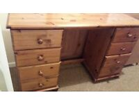 8 Drawer pine dressing table with stool