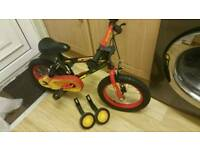 Kids boys Fire Force 14 inch bike with stabilisers