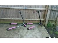 2× girls flicker scooters