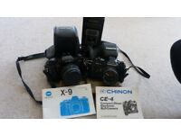 Minolta X9 & Chinon CE-4 cameras with Miranda CTB 24 flash