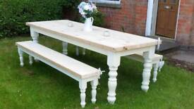 4ft solid pine farmhouse country shabby chic dining table and bench set