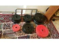 Cast Iron Weight Plates 70KG + Solid Iron Triceps Bar