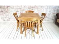 Extending Rustic Farmhouse Dining Table Set Drop Leaf Folding, Ergonomic, Space Saving, Extendable