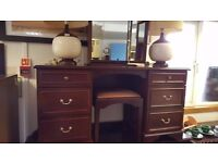 Stag Dressing Table With Mirror / Stool & 2 Bedside Cabinets