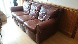 3 seater, scrollback, leather settee