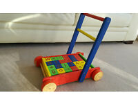 Wooden Baby Walker with alphabet and number blocks