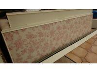 Sliding wardrobe door set - 2 cream wooden doors & 2 decorated glass panels (fixtures/fittings incl)