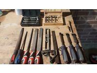 Tool Job Lot. Drill bits and hand tools.
