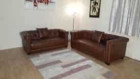 Ex-display Highgrove hazelnut leather 3+2 seater sofas