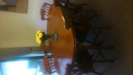 Windsor solid wood table + 6 chairs, 3 door sideboard complete with hutch