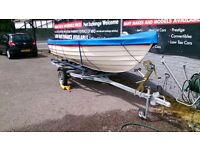 16FT CLINKER MOTOR BOAT WHITE AND BLUE SEATS 6 NEVER BEEN IN WATER NEW TRAILER AND 10HP ENGINE