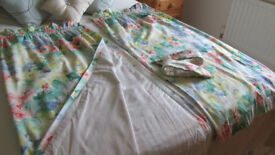 CURTAINS - SANDERSON PRINT TAILORMADE AND LINED WITH TIEBACKS AND MATCHING LAMPSHADE AND CUSHIONS