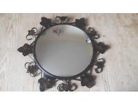 Vintage Convex Round Mirror. Retro 50s, 60s Ivory Painted Metal, Flowers Leaves