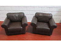 TWO BROWN LEATHER ARMCHAIRS GREAT CONDITION FREE DELIVERY IN LIVERPOOL