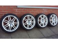 "4 X19"" GENUINE AUDI ALLOY WHEELS WITH GREAT TYRES 255/35R19 P/N 4F0601025BA"