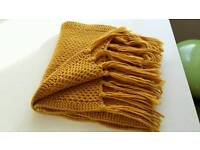 Mustard yellow knitted scarf, never worn