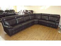 Designer brown leather manual 6 piece corner sofa (395) £999