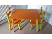 Argos Childrens / Kids Wooden Table & 2 X Chairs. For ages 3-6 / maximum 20kg. Very good condition.