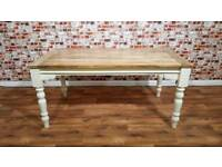 Extendable Farmhouse Dining Table- Seats up to Twelve People with Turned Legs