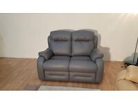 Ex-display Boston grey leather 2 seater sofa