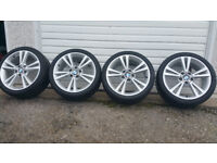 BMW Genuine 18 LA Double Spoke 385 alloy wheels + 4 x tyres Bridgestone Potenza 225 40 18/245 35 18