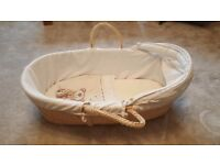 Moses Basket with mattress, liner, hood and quilt