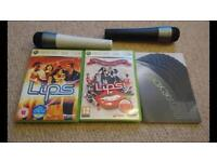 Two Lips Xbox 360 games with two official microphones and manual.