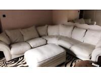 Winter white genuine leather corner suite DFS