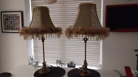 Antique style table lamps with decorative material shades