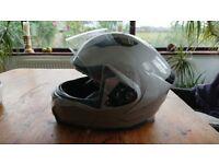 Silver Motorbike Helmet