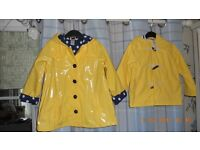 Yellow Lined Raincoats -Age 2 & 3, BRAND NEW- RRP £50 the pair