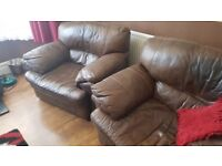 2 real leather chairs free to collector
