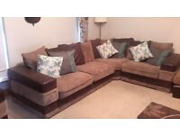 Suede and fabric large corner sofa and armchair