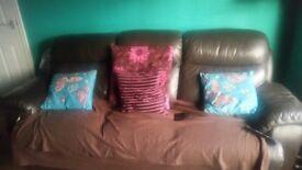3 seater dark brown sofa recliner