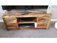 Solid indian oak tv unit and barrell to match
