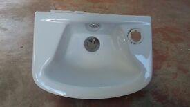 Small Cloakroom Basin Wall Mounted Sink. Single Tap, Bathroom, Toilet
