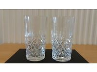 2 X Cut Glass Glasses / Vases. Used. Heavy weight Glasses in ezcellent condition. Was part of a set.
