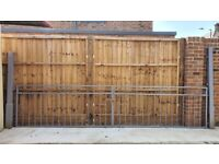 Wide Heavy Metal Drive Gates With Posts