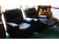 Black bonded leather Recliner chairs