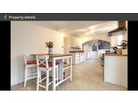 Oak kitchen island and two stools