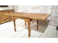 Turned Leg Extending Rustic Farmhouse Dining Kitchen Table Solid Hardwood - Space Saving Design