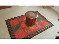 Moroccan embroidered rug red & brown