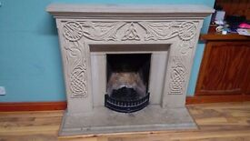 Hand Carved Celtic Fireplace