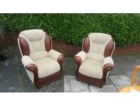 2 cream and Brown Italian leather armchairs £45 a piece