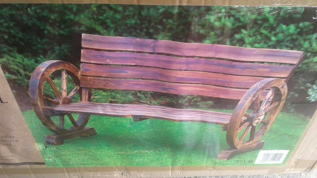 New Boxed 2 Wagon Wheel Garden Benches And Rocking Chair