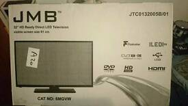 "JMB 32"" HD ready TV. With built in dvd"