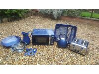 Blue Microwave, Kettle, Toaster and Kitchen Accessories