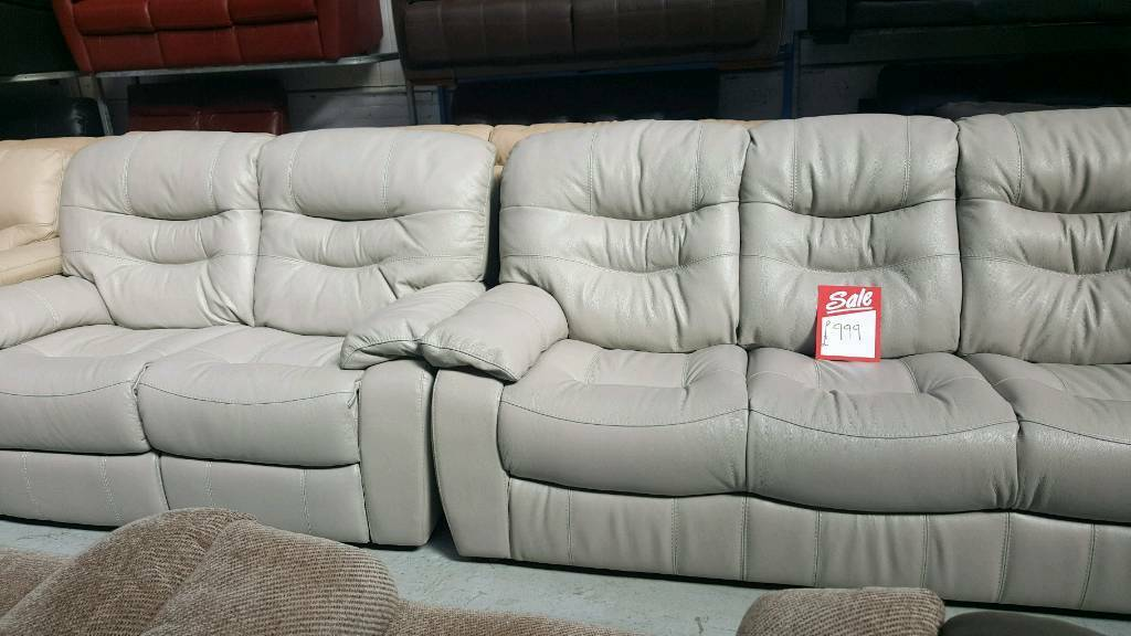 Real Leather Furniture Village Ex Display 3 2 Seater Sofa