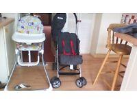 high chair & pushchair for sale .Mamas & Papas hc & Koochi push chair.